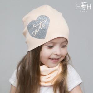ВО-38231прс Двухслойная трикотажная шапка Cute, персиковый