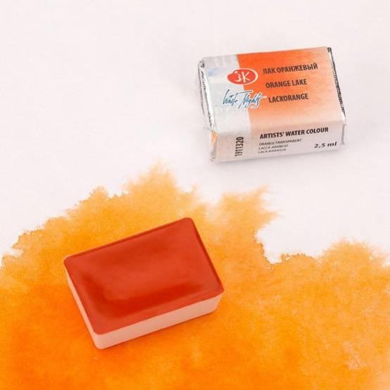 """Краска акварель художественная """"Белые ночи"""" лак оранжевый цв. №320 кювета 2,5мл"""