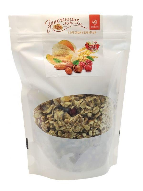 Мюсли запечённые с орехами и цукатами, 300 г