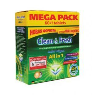 """Таблетки для ПММ """"Clean&Fresh"""" Allin1 (mega) 60 штук + 1 очиститель"""