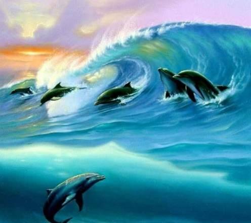 Товары с уценкой - Дельфины на волне