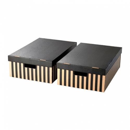 ПИНГЛА Коробка с крышкой, черный