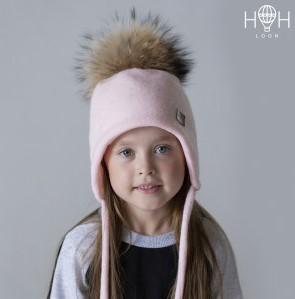 ШЗ-1103 Зимняя шапка НОН с натуральным помпоном из енота, пудра