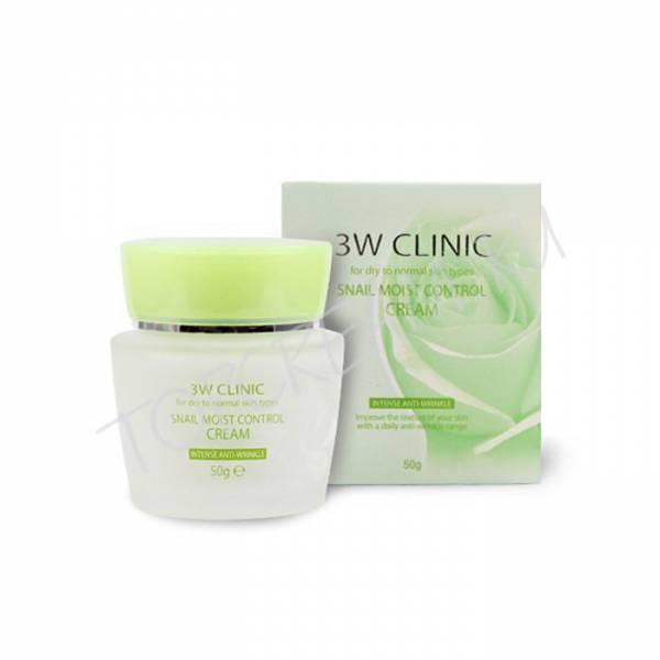 3W CLINIC Восстанавливающий крем для лица с улиточным муцином Snail Moist Control Cream
