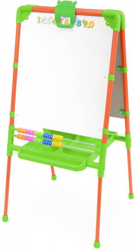 """Мольберт для детей """"растущий""""(возможность изменения высоты от 755 до 1100 мм) с большим пеналом. Две рабочие поверхности- для рисования мелом, для магнитов и для рисования маркером, цветные счеты. В комплект  входит магнитная азбука (русская азб"""