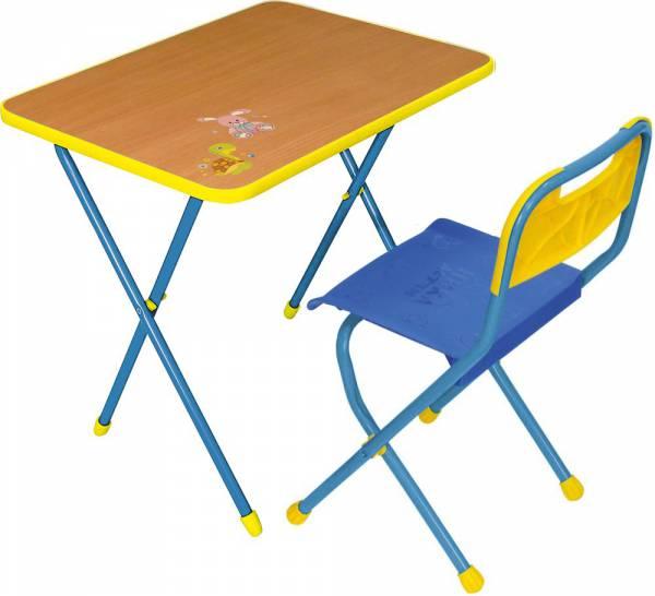 """Комплект """"Алина"""" для детей от 3 до 7 лет (стол высотой 570 мм + стул пластмассовый, цвет каркаса: красный, синий)"""