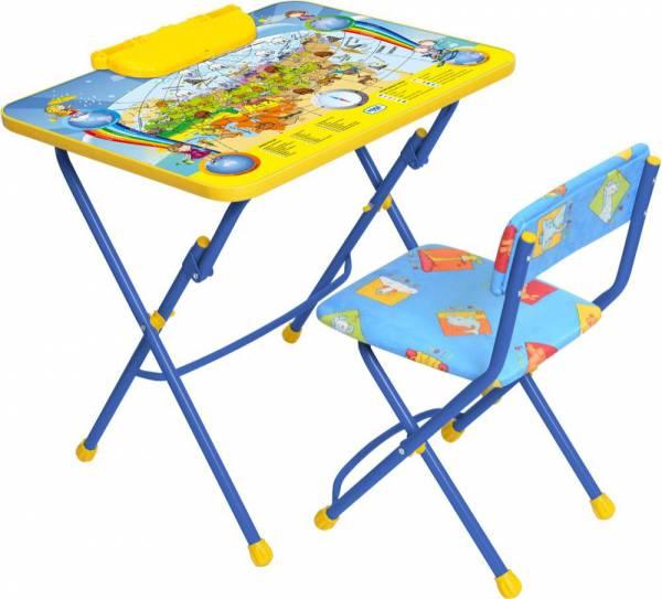 """Комплект""""КУ2"""" с подножкой и пеналом, для детей от 3 до 7 лет (стол высотой 570 мм  с тематическим глянцевым рисунком + стул мягкий 300х300 мм, цвет каркаса: сиреневый, синий, зеленый )"""