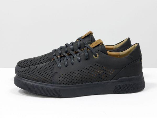 Черные мужские летние туфли на шнуровке, из натуральной матовой кожи с перфорацией и рыжим подкладом, на черной подошве Т-М21-02