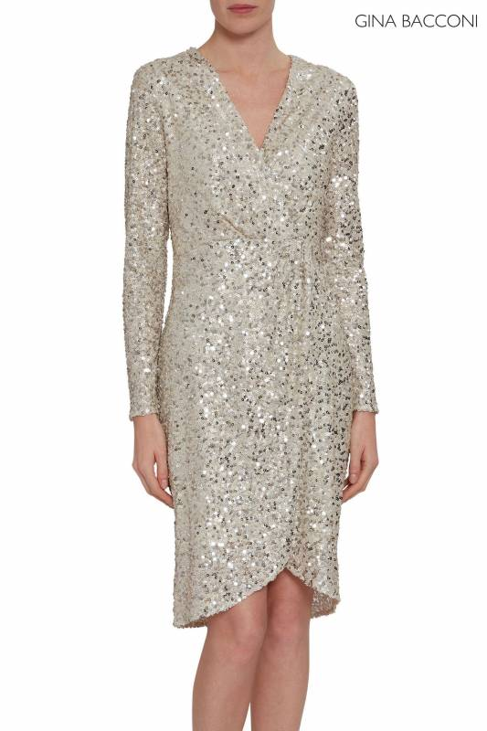 Gina Bacconi Silver Nidia Sequin Wrap Dress