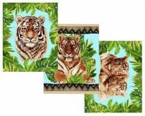 """К-т полотенец """"Тигры"""" 50*60 см. - 3 шт. рогожка хлопок 100%"""